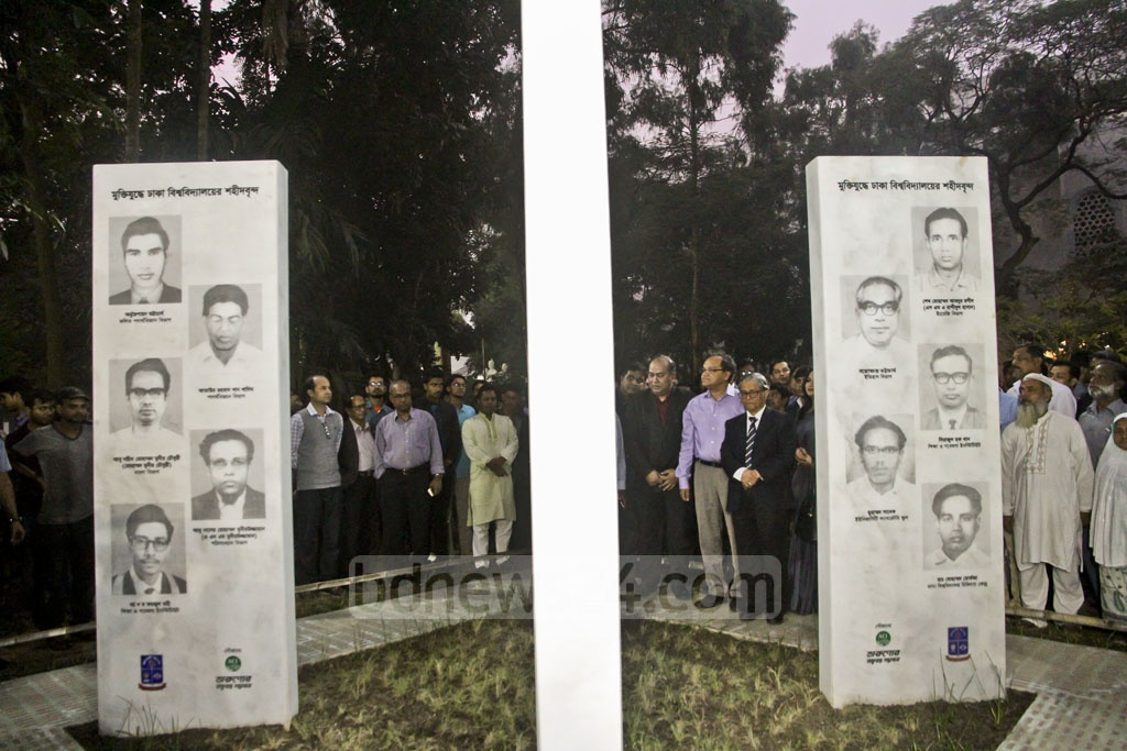Guests take a tour of the 1971 Liberation War martyrs memorabilia and beautification works on the Arts Building premises in Dhaka University on Tuesday. Photo: tanvir ahammed