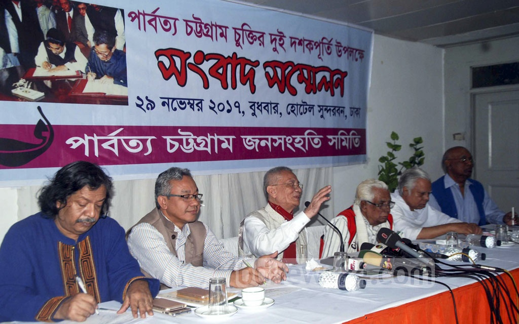 Parbatya Chattagram Jana Sanghati Samiti leader Jyotirindro Bodhipriya Larma, popularly known as Santu Larma, complains about the 1997 Chittagong Hill Tracts Peace Accord not being fully implemented on the deal's 20th anniversary at a Dhaka hotel on Wednesday.