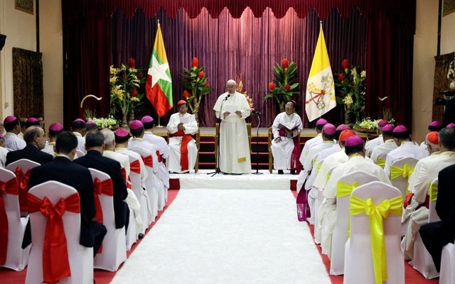Pope Francis delivers his speech during a meeting with the bishops of Myanmar at the end of their meeting at St. Mary's Cathedral, Yangon, Myanmar November 29, 2017. Reuters