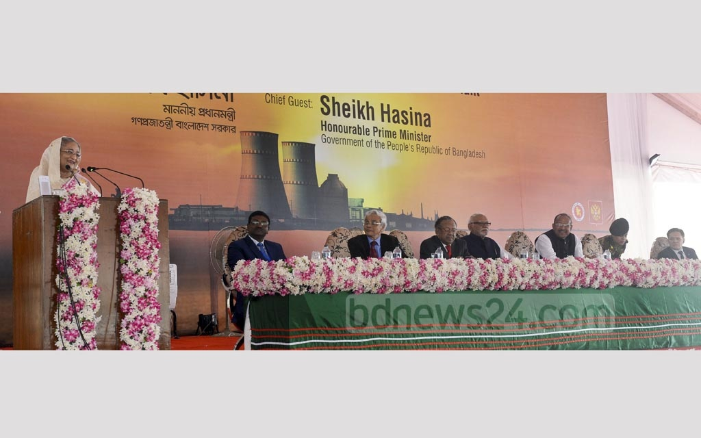 Prime Minister Sheikh Hasina speaks at the inauguration of the main construction work of the reactor at a nuclear power plant, the first of Bangladesh, in Pabna's Rooppur on Thursday. Photo: PID