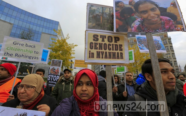 Demonstrators in front of the European Union headquarters in Brussels call for an end to the genocide of Rohingyas in Myanmar's Rakhine State. File Photo: mostafigur rahman