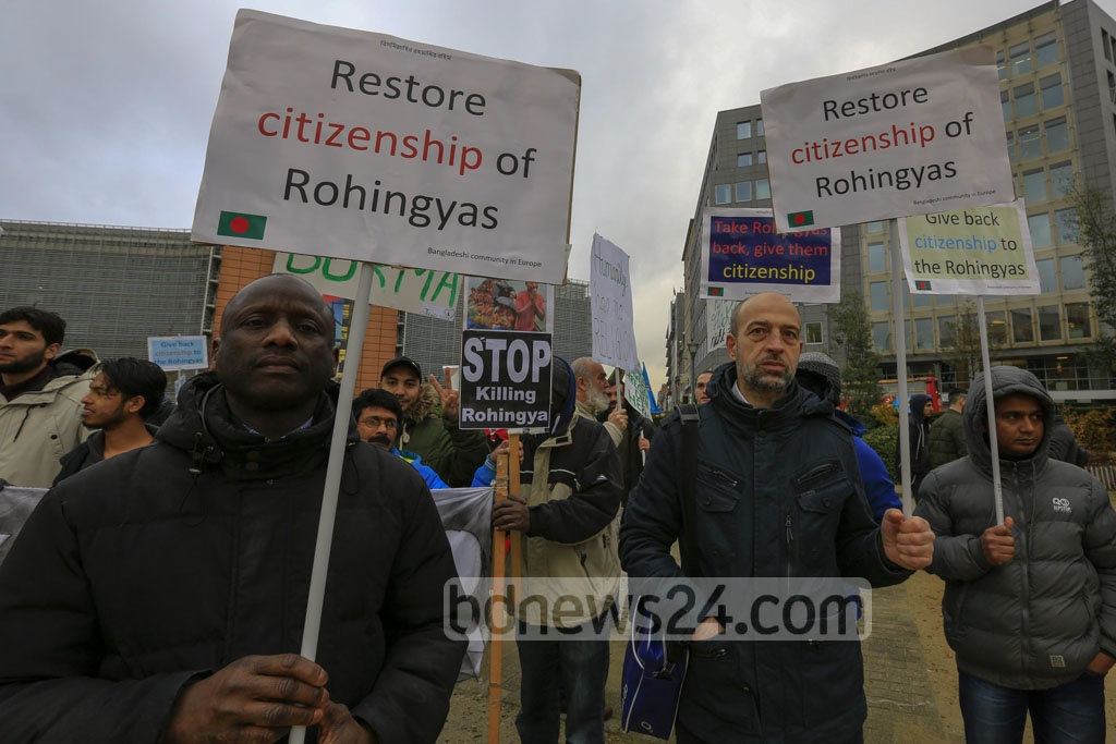 More than 500 people from European countries, including Bangladeshis, demonstrate in front of the European Union headquarters in Brussels on Thursday calling for an end to the genocide of Rohingyas in Myanmar's Rakhine State. Photo: mostafigur rahman