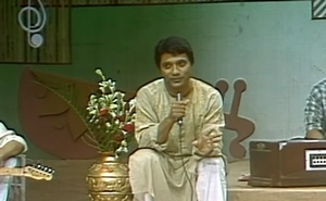 As the presenter of 'Jalsa, a BTV programme, in 1995.