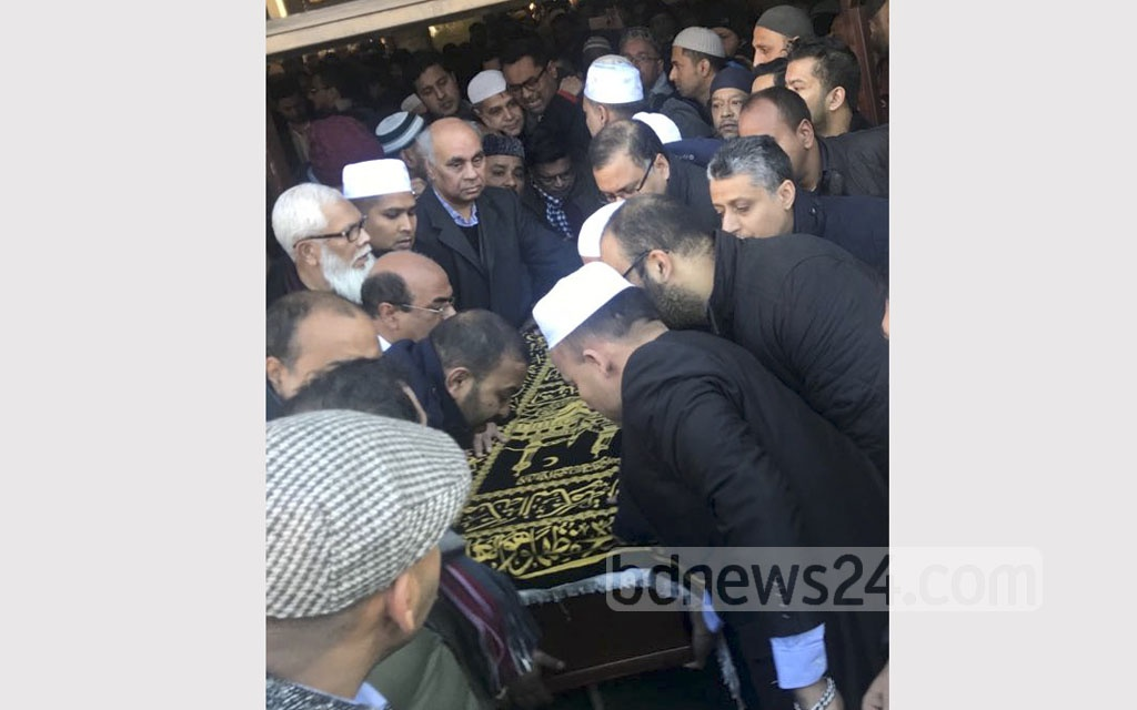 A Namaz-e-Janaza of Dhaka North Mayor Annisul Huq being held at London Central Mosque near Regent's Park after the Juma prayers on Friday. Annisul died at a hospital in London on Thursday after battling a disease related to inflammation of brain blood vessels for around four months.