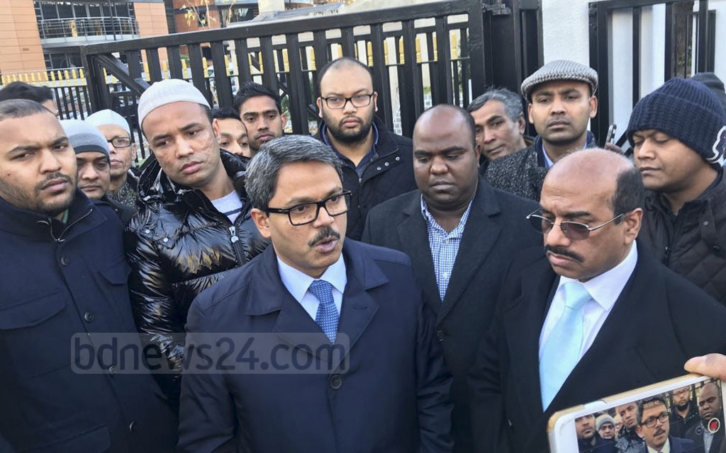 State Minister for Foreign Affairs Md Shahriar Alam attends a Namaz-e-Janaza of Dhaka North Mayor Annisul Huq at London Central Mosque near Regent's Park after the Juma prayers on Friday. Annisul died at a hospital in London on Thursday after battling a disease related to inflammation of brain blood vessels for around four months.