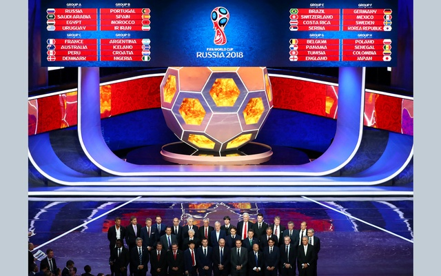 2018 FIFA World Cup Draw - State Kremlin Palace, Moscow, Russia - December 1, 2017 The nations coaches pose for a photo after the draw. Reuters