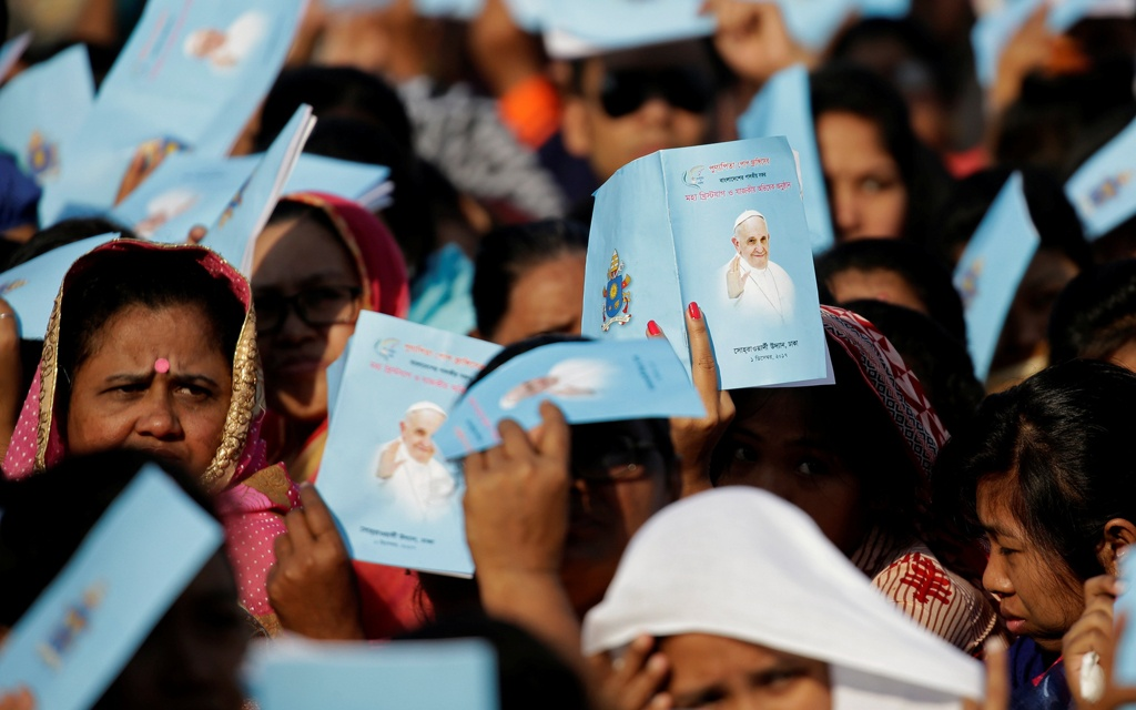 Catholics make up less than one percent of the population of 169 million people in majority-Muslim Bangladesh. Around 80,000 Catholics from across the country joined the outdoor Mass in Dhaka on Friday. Photo: Reuters