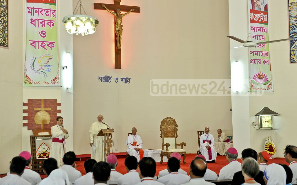 Pope Francis spoke at a meeting of the pastors and religious leaders at the Holy Rosary Church at Tejgaon in Dhaka on Saturday at the final day of his three-day visit to Bangladesh. Photo: PID