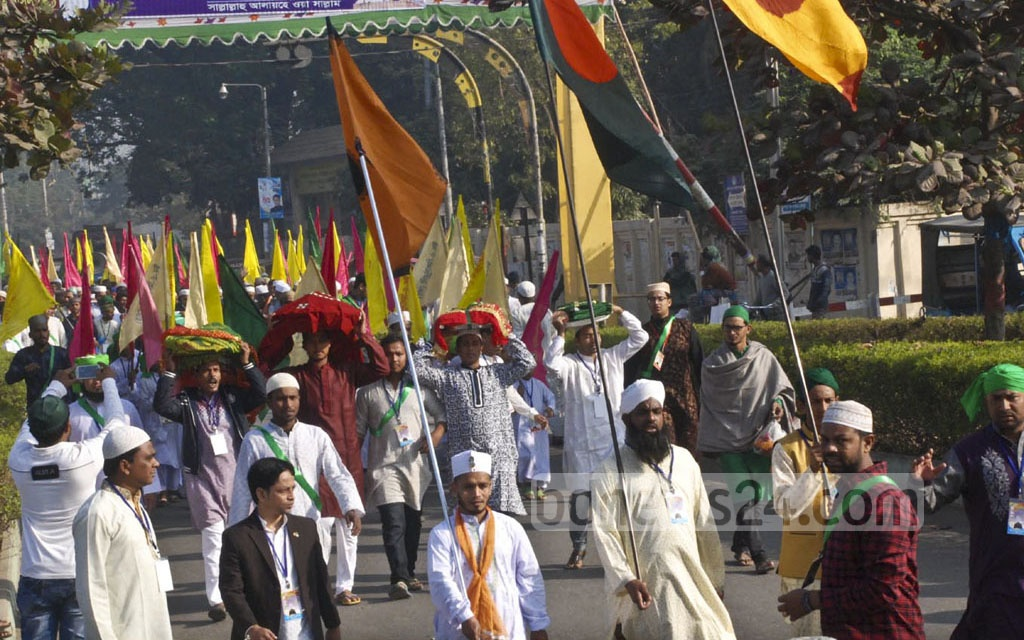 An Eid-e-Miladunnabi procession in Rajshahi on Saturday. Photo: Gulbar Ali Juwel
