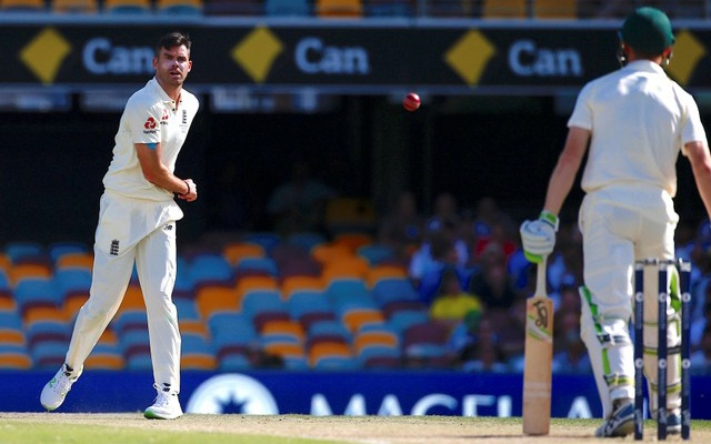 Ashes test match - Australia v England - GABBA Ground, Brisbane, Australia, November 26, 2017. England's James Anderson throws the ball at Australia's Cameron Bancroft during the fourth day of the first Ashes cricket test match. Reuters