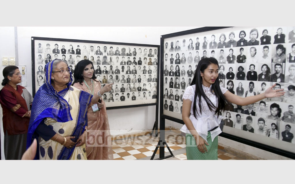 Prime Minister Sheikh Hasina visits the Tuol Sleng Genocide Museum on Sunday, the first day of her three-day official visit to Cambodia. Photo: Saiful Islam Kallol