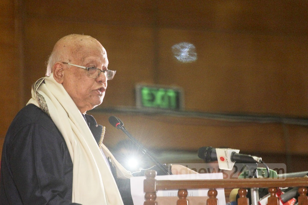 Finance Minister AMA Muhith attends an event at the Bangabandhu International Conference Centre on Sunday to observe International Day of Persons with Disabilities. Photo: asif mahmud ove