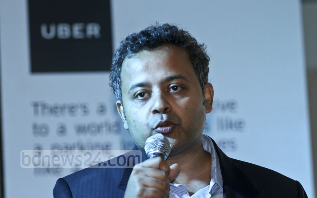 Uber India and South Asia Head of Operations Pradeep Parameswaran speaks at an event celebrating the company's first year in Bangladesh, at Dhaka's Sonargaon Hotel on Sunday. Photo: dipu malakar