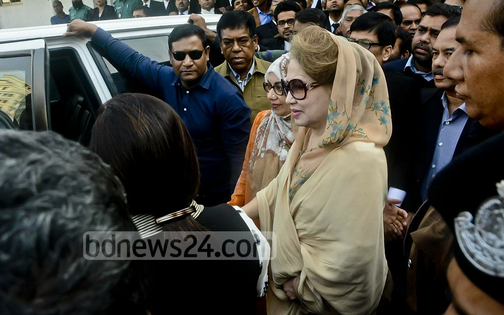 BNP Chairperson Khaleda Zia secures bail after surrendering to the Dhaka Special Judge's Court-5 in Old Dhaka's Bakshibazar on Tuesday for hearings in the Zia Orphanage Trust and Zia Welfare Trust graft cases.