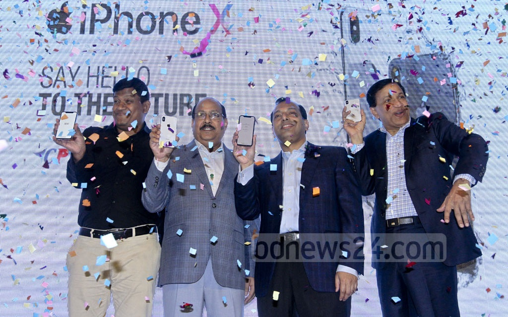 Apple's new iPhone X was jointly launched in Bangladesh by the CPL and Union Group on Wednesday at Dhaka's Westin Hotel. Photo: dipu malakar