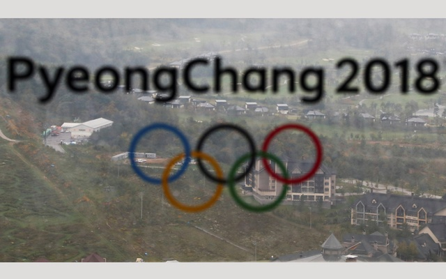 The PyeongChang 2018 Winter Olympic Games logo is seen at the the Alpensia Ski Jumping Centre in Pyeongchang, South Korea, Sep 27, 2017. Reuters