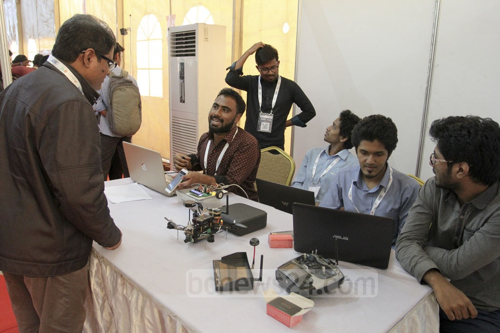Projects of university students also draw interest at the Digital World expo held at the BICC on Thursday. Photo: asif mahmud ove