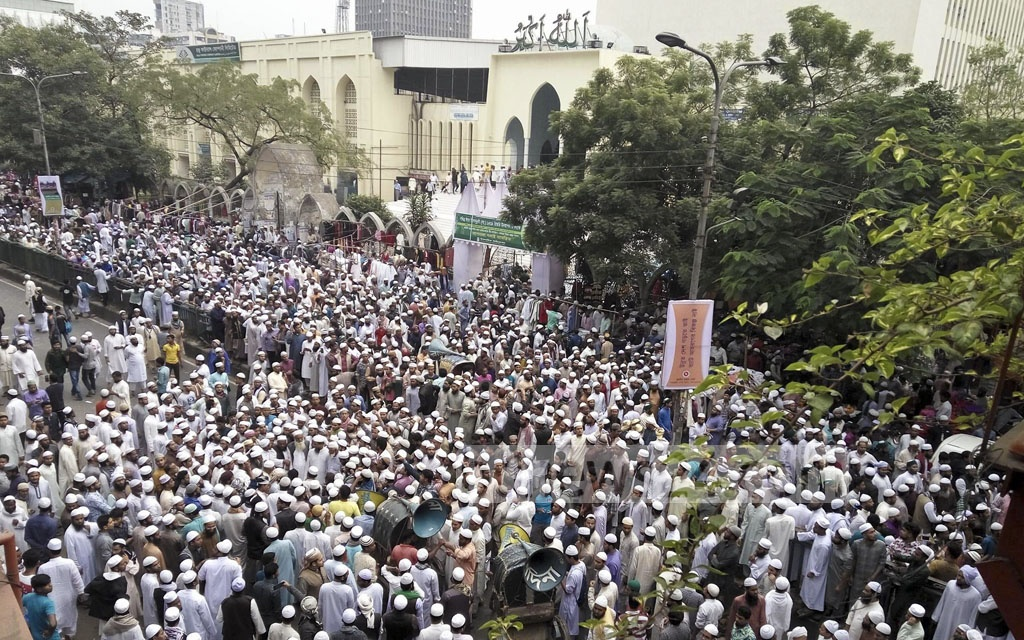 Hifazat-e-Islam activists demonstrate against US President Donald Trump's recognition of Jerusalem as Israel's capital in Baitul Mukarram National Mosque area in Dhaka on Friday after Juma prayers.