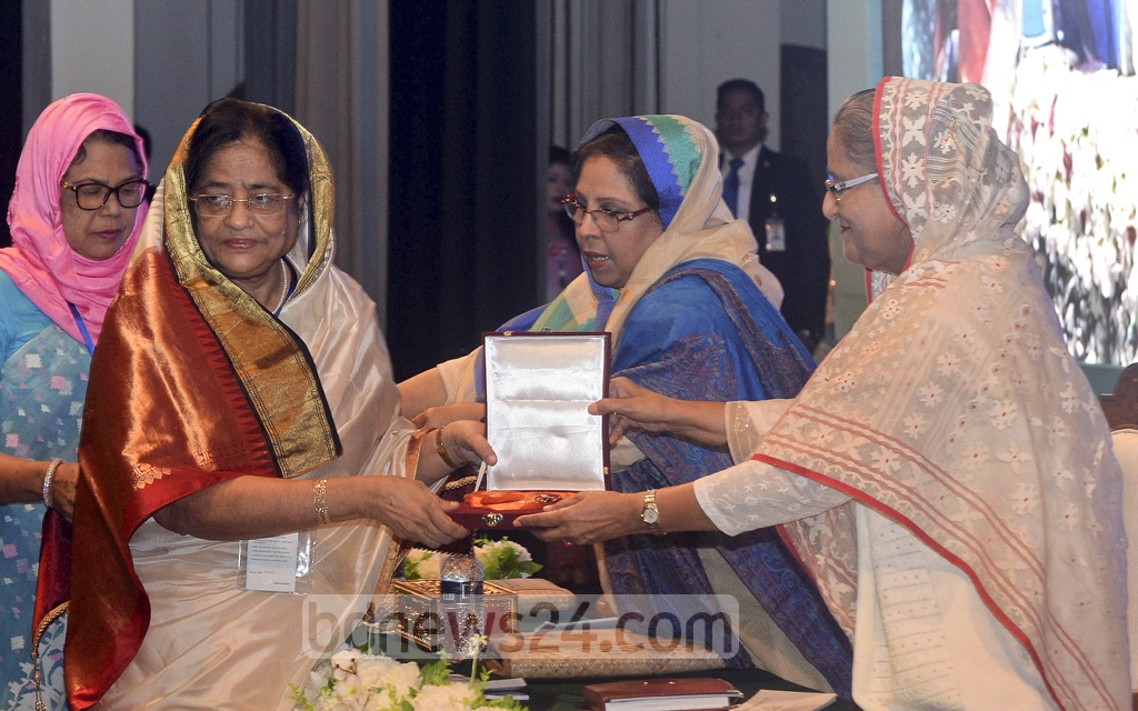 Prime Minister Sheikh Hasina presented this year's recipients with the Rokeya Padak at the Osmani Memorial Auditorium in Dhaka on Saturday.