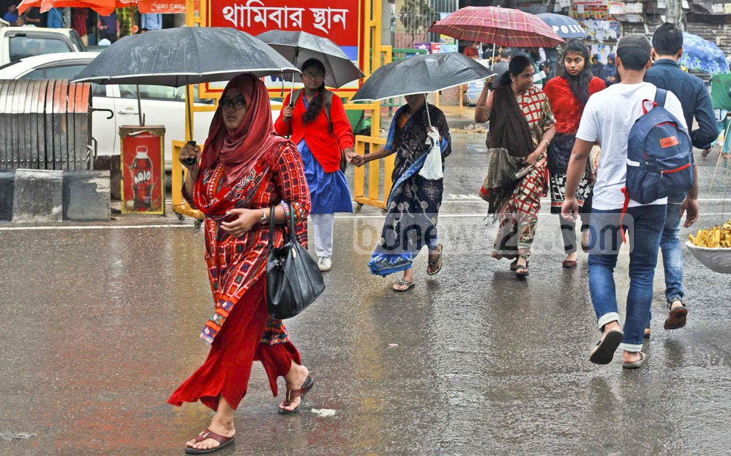 Residents of Dhaka had to bring out their umbrellas on Saturday as many parts of the country experienced winter rain due to a depression over the Bay of Bengal.