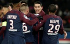Ligue 1 - Paris St Germain vs LOSC Lille - Parc des Princes, Paris, France - December 9, 2017 Paris Saint-Germain's Angel Di Maria celebrates scoring their first goal with teammates. Reuters
