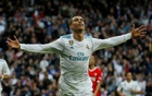 La Liga Santander - Real Madrid vs Sevilla - Santiago Bernabeu, Madrid, Spain - December 9, 2017 Real Madrid's Cristiano Ronaldo celebrates scoring their second goal. Reuters