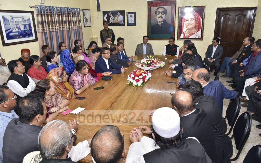 Prime Minister Sheikh Hasina's son and her ICT affairs adviser, Sajeeb Wazed Joy, attends a meeting with Awami League leaders at AL chief's Dhanmondi office on Monday.