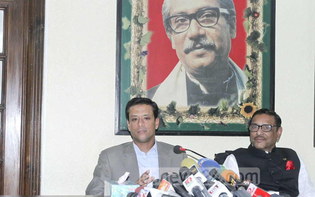 Prime Minister Sheikh Hasina's son and her ICT affairs adviser, Sajeeb Wazed Joy, speaks to the media after attending a meeting with Awami League leaders at AL chief's Dhanmondi office on Monday. He mentions a Gallup poll that shows