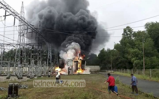 Flames erupted at the 230kV power substation in Sylhet's Fenchuganj on Monday leaving one of the transformers totally damaged.