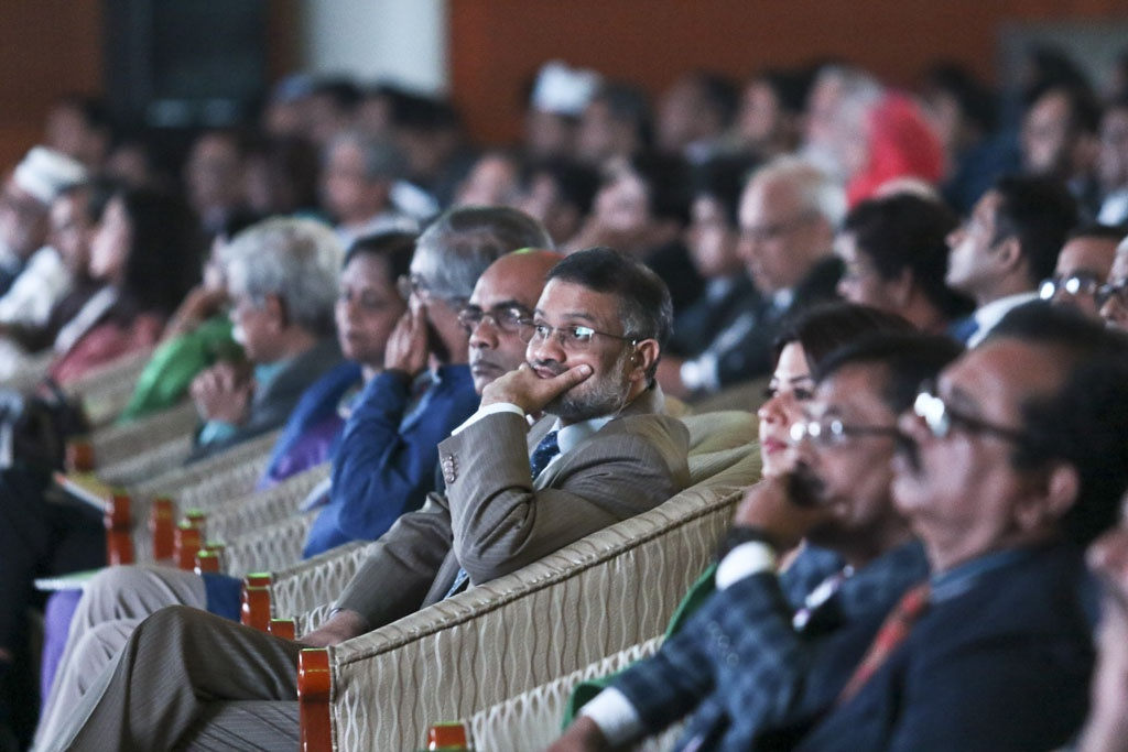 bdnews24.com Editor-in-Chief Toufique Imrose Khalidi attends the ICT awards ceremony on Bangladesh's first National ICT Day at the Bangabandhu International Conference Centre on Tuesday. Photo: dipu malakar