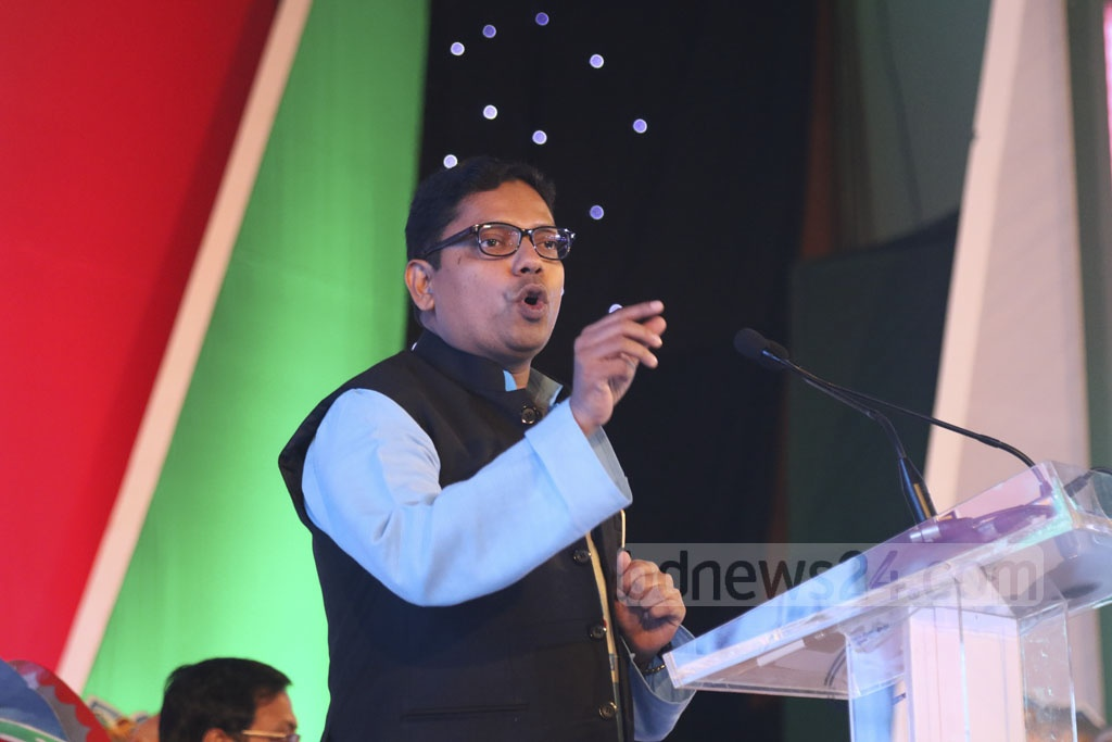 State Minister for ICT Zunaid Ahmed Palak speaks at the ICT awards ceremony in celebration of Bangladesh's first National ICT Day at the Bangabandhu International Conference Centre on Tuesday. Photo: dipu malakar