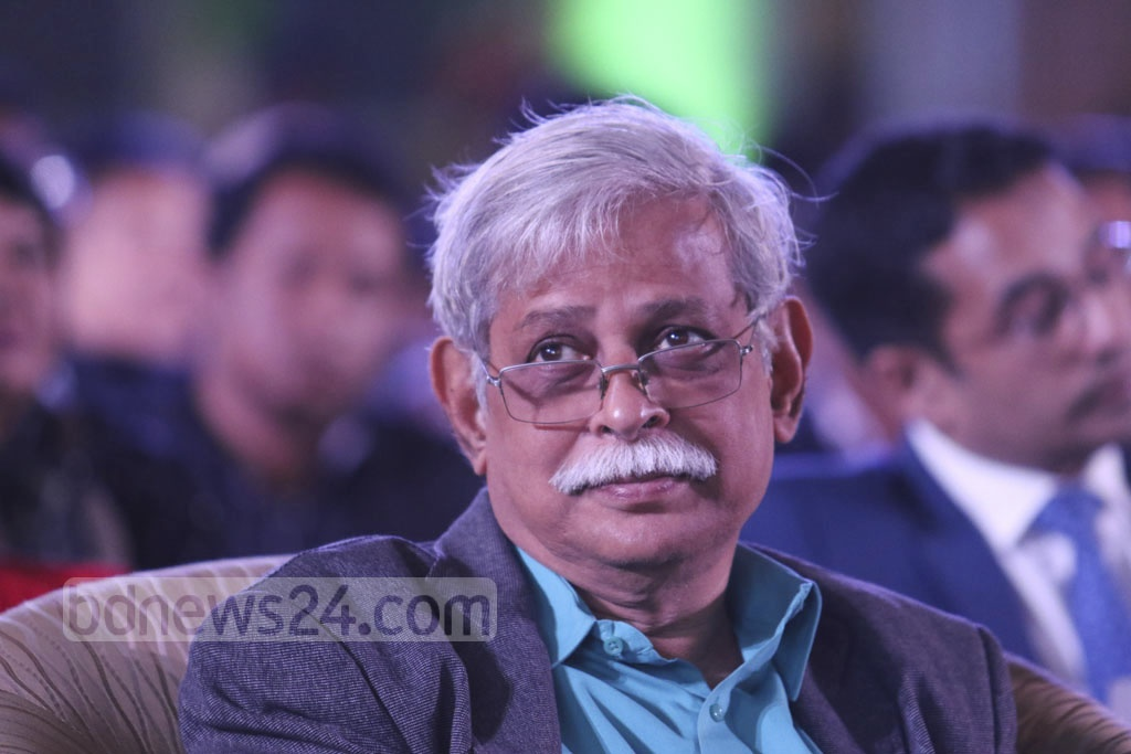 Educationist Muhammed Zafar Iqbal attends the ICT awards ceremony on Bangladesh's first National ICT Day at the Bangabandhu International Conference Centre on Tuesday . Photo: dipu malakar