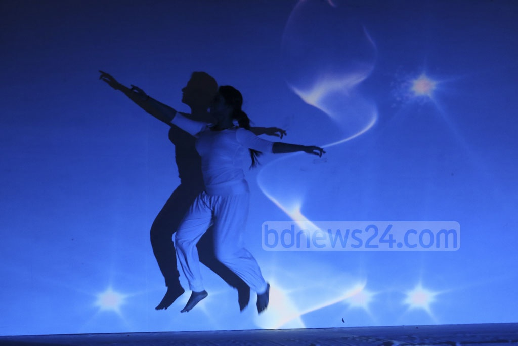 An animation dance sequence at an event held at the Bangabandhu International Conference Centre on Tuesday marking Bangladesh's first National ICT Day. Photo: dipu malakar