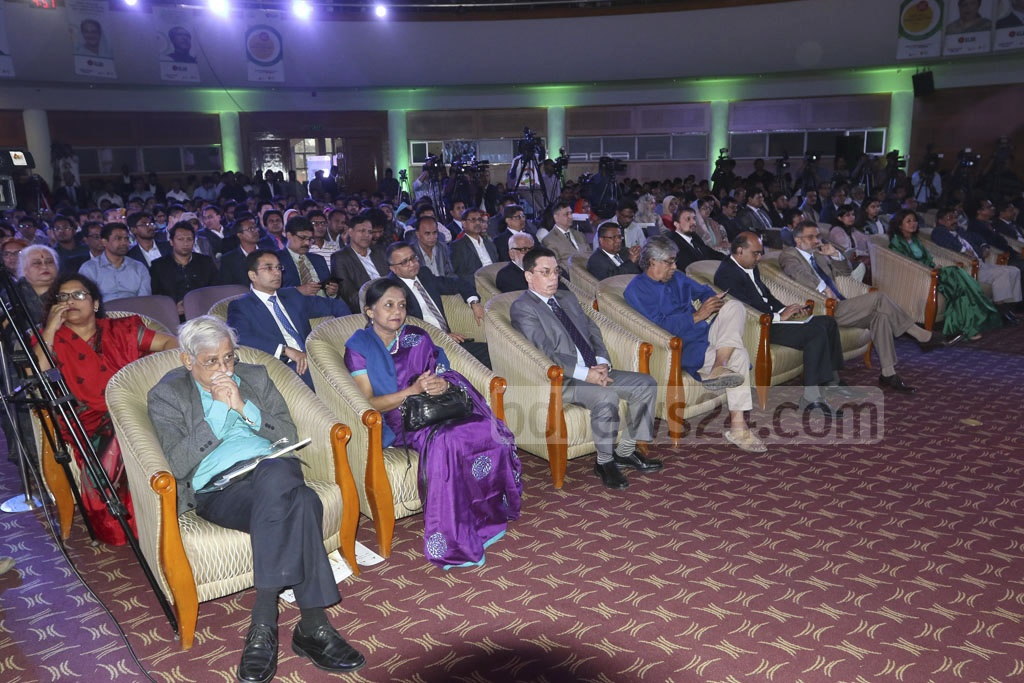 A section of the audience who attended the awards ceremony on Bangladesh's first National ICT Day at the Bangabandhu International Conference Centre on Tuesday. Photo: dipu malakar