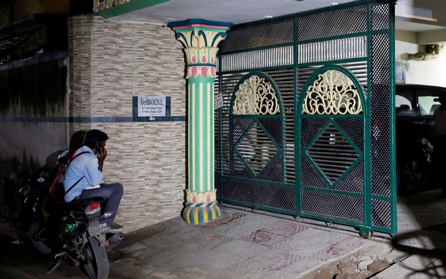 The entrance of the apartment building in Dhaka's Jigatala, where Akayed used to live, Dec 12, 2017. Reuters