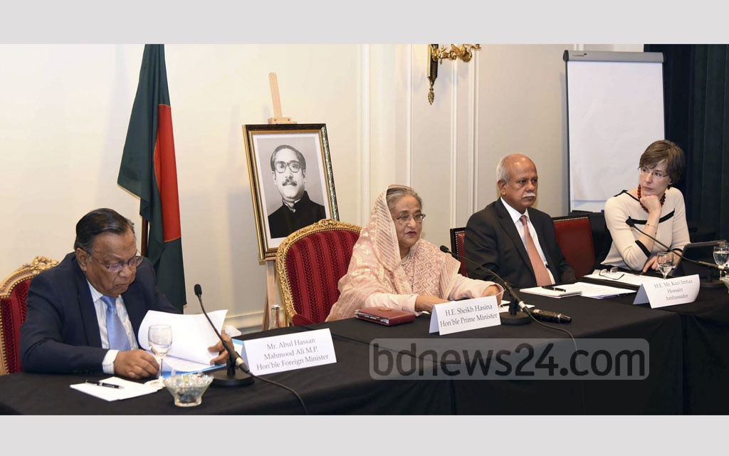 Prime Minister Sheikh Hasina speaks to the leaders of business body Movement of the Enterprises of France or MEDEF in Paris on Wednesday.