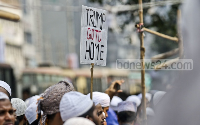 File Photo: Activists of Qawmi madrasa-based organisation Hifazat-e Islam demonstrated near the Baitul Mukarram National Mosque in Dhaka on Dec 13, 2017 protesting US President Donald Trump's decision to recognise Jerusalem as the Israeli capital.