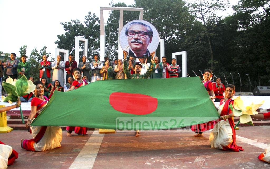 A dance sequence from the inaugural ceremony of the week-long Victory Celebration organised by Sammilita Sansgkritik Jote or the central platform of cultural organisations at the Central Shaheed Minar in Dhaka on Wednesday.