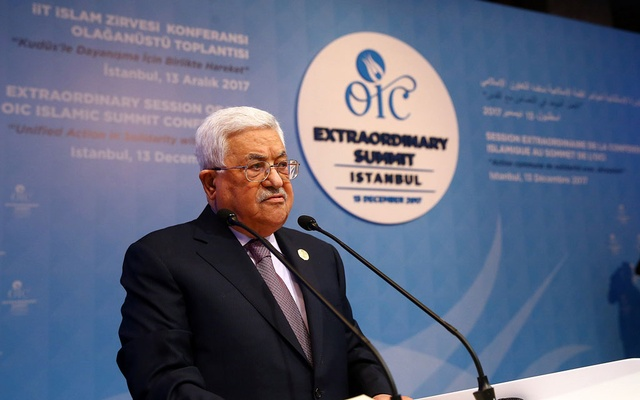 Palestinian President Mahmoud Abbas speaks during an extraordinary meeting of the Organisation of Islamic Cooperation (OIC) in Istanbul, Turkey, December 13, 2017.