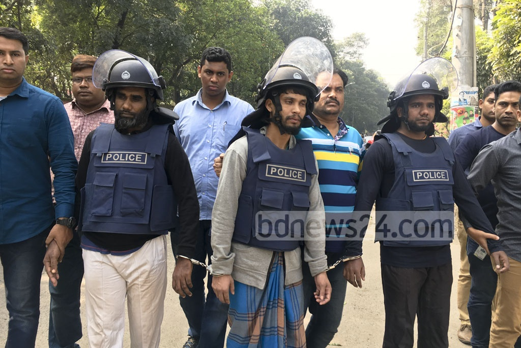 Three suspected militants detained in Dhaka on Wednesday. Police in a media briefing said one of them was a close aide to neo-JMB militant Tamim Chowdhury.