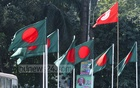 Bangladesh flags flutter on the road island near the National Press Club on Friday ahead of the Victory Day on Saturday, when the nation will observe 46 years of winning the War of Independence. Photo: dipu malakar