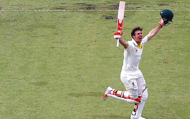 Australia v England - Ashes test match - WACA Ground, Perth, Australia, December 16, 2017 - Australia's Mitchell Marsh celebrates after reaching his century during the third day of the third Ashes cricket test match. Reuters