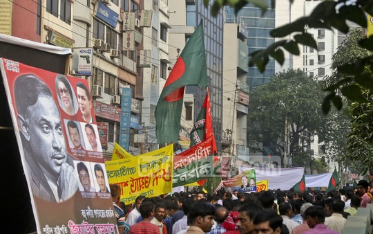 The front section of the Victory Procession organised by the BNP in the capital on Sunday. Thousands of activists, supporters and leaders take part in the procession with banners, placards, national flags and party flags from Naya Paltan party office to Mouchak. Photo: tanvir ahammed