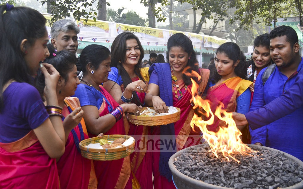 Pithas or the winter cakes are the main attractions at the three-day Poush Mela 1424 inaugurated at the Bangla Academy premises on Friday.