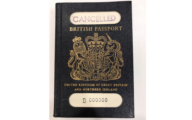 A classic blue United Kingdom passport is seen in this photo illustration received via Britain's Home Office, in London Britain December 22, 2017. Home Office/Crown Copyright/Handout via REUTERS