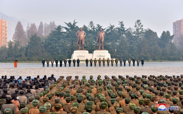 Civilians and members of the army attend one of the joint meetings, which were held across South Phyongan, Hwanghae and Hamgyong provinces, to celebrate North Korea's nuclear progress in this photo released by North Korea's Korean Central News Agency (KCNA) in Pyongyang Dec 4, 2017. Reuters
