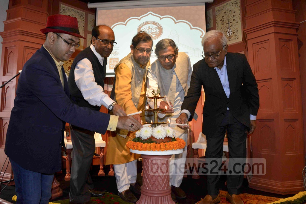Guests inaugurate book superstore Baatighar's branch in Dhaka's Bishwo Shahitto Kendro Bhaban on Friday.