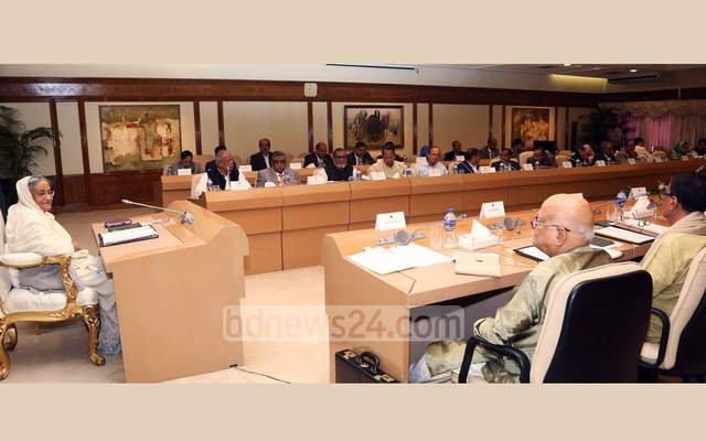 File photo shows Prime Minister Sheikh Hasina and her cabinet during a meeting.