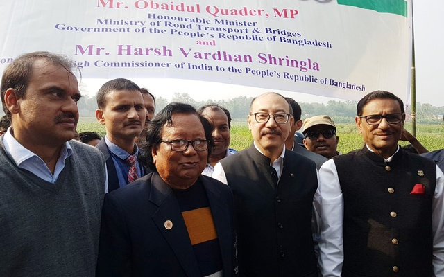 File Photo: Obaidul Quader and Harsh Vardhan Shringla visit the construction site of a bridge on the Feni river, considered to be a vital link between India and Bangladesh when built.