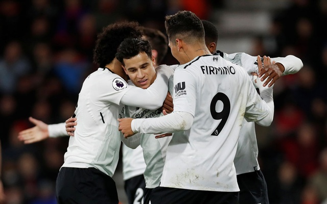 Premier League - AFC Bournemouth vs Liverpool - Vitality Stadium, Bournemouth, Britain - Dec 17, 2017 Liverpool's Philippe Coutinho celebrates scoring their first goal with teammates Action Images via Reuters